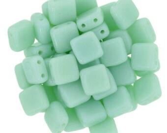 30 6 mm OPAQUE PALE JADE CzechMates Tile beads