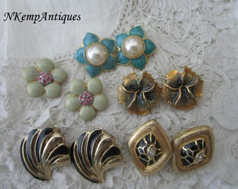 Vintage enamel earrings x 5 clip ons