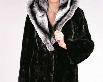 Real Fur Canadian |Mink Chinchilla & Rabbit Hooded Jacket