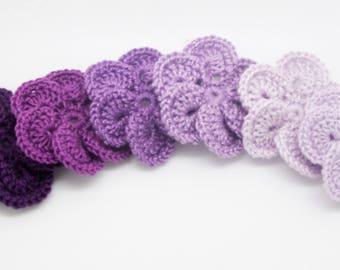 Set of 6 purple color Mercerized cotton crochet flowers