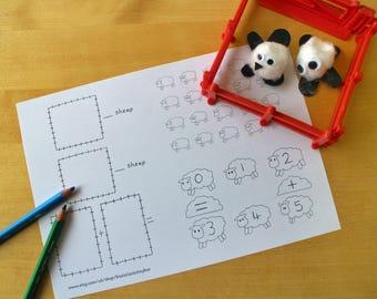 Counting Sheep Printable Lesson Sheet / Maths Activity