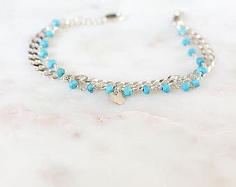 Double chain and blue stones 925 sterling silver bracelet