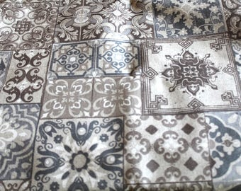 Coated fabric 70 x 50 cm cement tiles