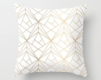 Geometric Gold Pattern Pillow Cover, Throw Pillow, Bohemian Throw Pillow,  Gold Boho Stripes
