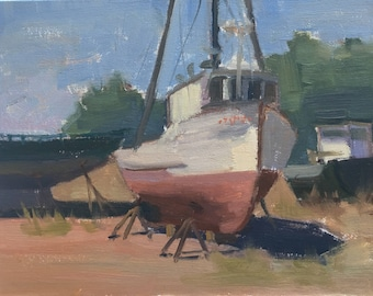 Sea Breeze- Original contemporary boat painting - Oil Painting