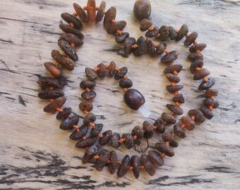 SALE RAW Baltic Amber Teething cognac nuggets beads  necklace 13 inch
