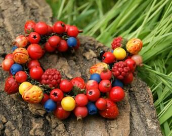 Berry bracelet/ boho berry/ Berries jewelry/ blueberry, raspberry, strawberry,cherry / fruit bracelet/ Red. yellow, blue/ summer bracelet