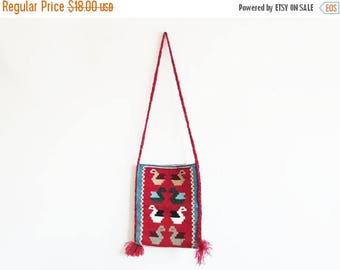 SALE Woven Bohemian Folk Bag // Wool Cross Body Tote Purse // Vintage Women's Accessory