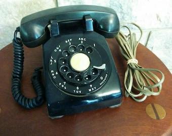 Vintage Black Rotary Dial Phone - Western Electric 1960's Retro Black Phone - Updated Plug