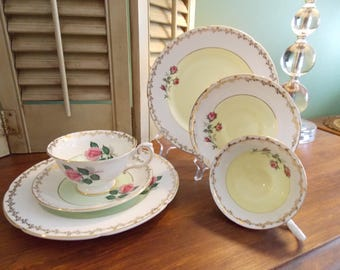 COFFEE & DESSERT SET, 3 Piece Embassy Fondeville Fine Bone China - Dessert Plate, Tea Cup and Saucer (Your Choice of Color Set)