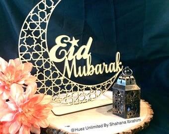 Wooden eid mubarak crescent hanger/standie,ramadan Decor,Eid Decoration,Islamic wood art, decoration,Islamic Wooden cut-outs,ramadan decor