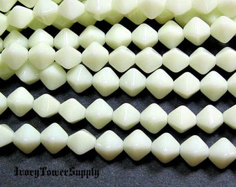 6mm Czech Glass Bicone Beads, Ivory White Beads, Glass Beads