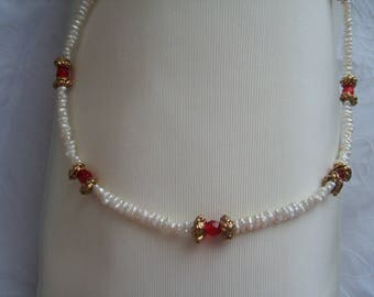 MOTHER'S DAY: RED BEADS AND GOLDEN FRESH WATER PEARLS NECKLACE