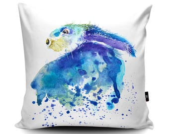 Rabbit Cushion, Hare Pillow, Hare Cushion, Rabbit Pillow, Animal Pillow, Hare Illustration, Spring Hare Watercolour Hare by Katherine