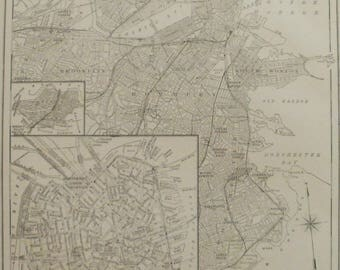 Vintage boston map Etsy