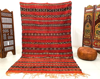 "Large Moroccan Handwoven Berber rug 5'7"" x 9'3"" Morocco Rug orange and red Berber Tribal Handmade Moroccan Kilim Rug Carpet"
