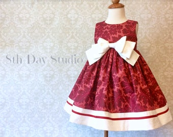Girls Christmas Dress, Toddler Christmas Dress, Cranberry Damask, Big Bow Dress, Sizes 2T - 6 by 8th Day Studio