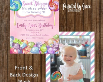 Sweet Shoppe Birthday Invitation | Optional Picture on Back | Front Back Design | Candy Birthday Invitation