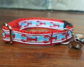 Crawfish or Lobster Breakaway Cat Collar With Bell