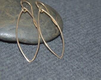 gold teardrop earrings, dangle teardrop earrings, everyday earrings, minimalist earrings, gold marquise earrings, gold filled jewelry