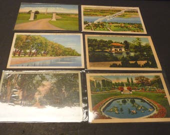 Six Linen Post Cards- 2 unused- 4 used (one Navy military free mailing)