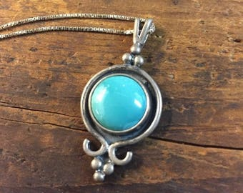 Turquoise Necklace & Pendant Signed  925 Vintage Jewelry