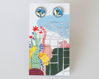 Earrings with a forget-me-not, handmade with glass cabochons, illustration, flower, rose gold,