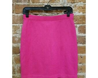 Vintage St. John Santana knit hot pink skirt size 2 80s knit skirt St. John Marie Gray