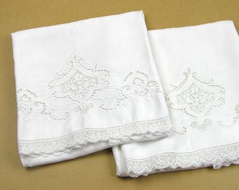 Vintage Pair Pillowcases White Cotton with Cut Work Embroidery Lace Edge