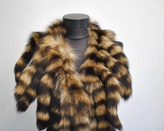Vintage RACCOON FUR COLLAR , glamorous fur collar..................(065)