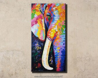 48 x 98 cm,Colorful Elephant Painting wall decor