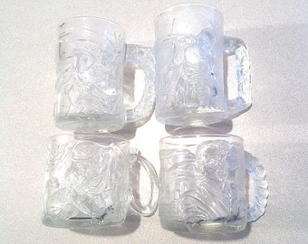Vintage Batman Forever Collector's Cups, McDonalds 1995 Batman Forever Promotional Glass Mugs~Complete Set, DC Comics Mugs Movie Memorabilia