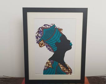 Amy - paper cut art in turquoise, purple and brown African print fabric