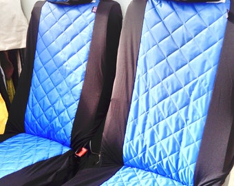 Water Resistant Pair Front Car Seat Covers With Matching Head Rest In Rich Royal Blue