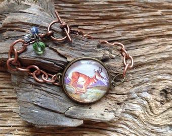 NWF Pronghorn stamp bracelet: upcycled stamp bracelet, antelope bracelet, American pronghorn bracelet, Pronghorn jewelry, Wyoming bracelet