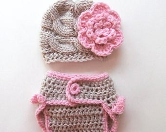 ON SALE 35% SALE Baby Girl Hospital Outfit - Newborn Baby Girl Hat and Diaper Cover Set - Photography Photo Prop Set - Newborn Diaper Cover