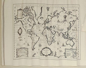 Linen map etsy world map linen fabric world map curtain panel linen material hanging tapestry 75 x 145cm gumiabroncs Images