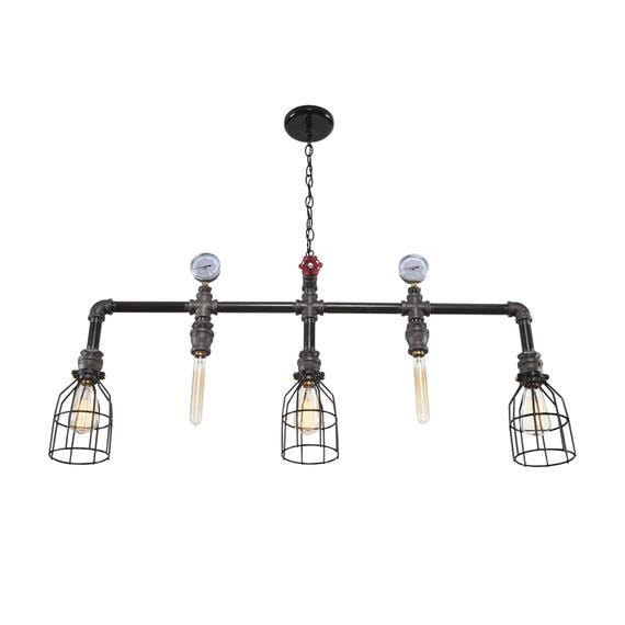 hanging multiple pendant steampunk pipe light hanging