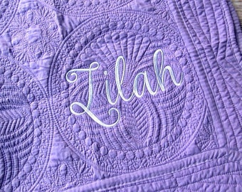 Heirloom baby quilt, monogrammed baby quilt, scalloped baby quilt, personalized baby quilt, solid color baby quilt, baby blanket, crib quilt