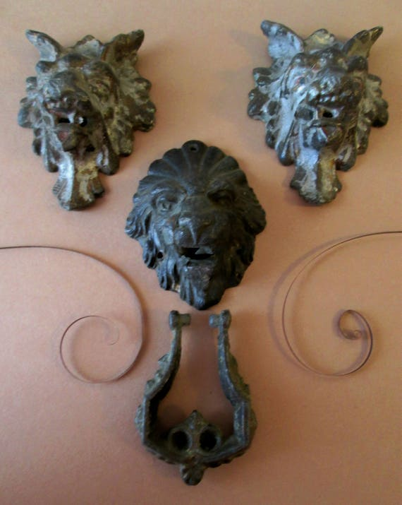 2 Antique Wolf and 1 Antique Lion Cast Iron Ormanents for Doors, Furniture, Clock Cases - Super Items