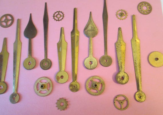 5 Pairs of Assorted Old Thick Solid Brass Clock Hands for your Clock Projects, Steampunk Art, Jewelry Making and Etc..