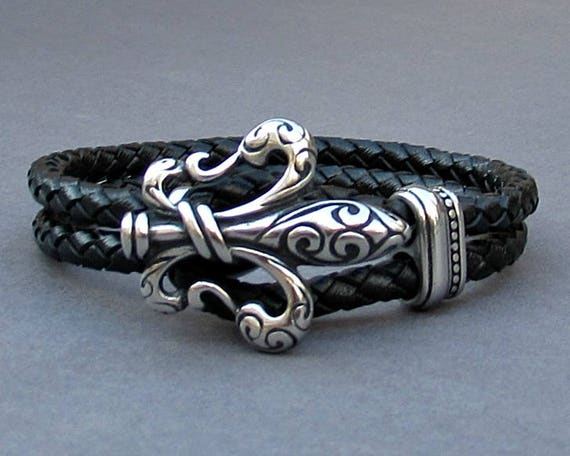 Fleur De Lis, Mens Braided Leather Bracelet, Stainless Steel Leather bracelet Cuff Gift For Men Customized On Your Wrist