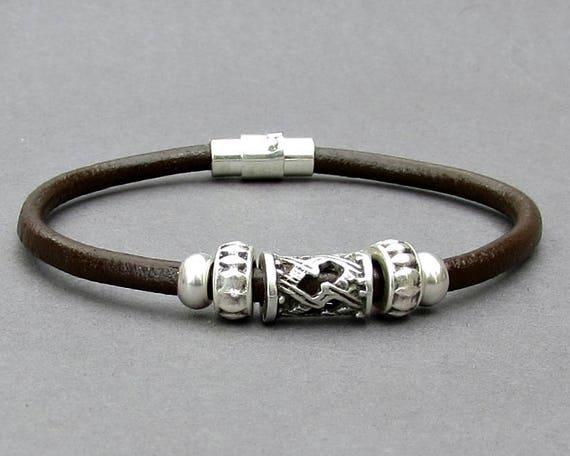 Bracelet For Men, Mens Leather Bracelet, Silver Mens Beaded Bracelet, Bracelet For Him, Antique Silver Plated, Customized On Your Wrist