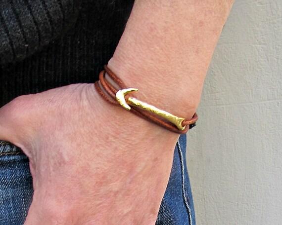 Arrow Mens Leather Bracelet Spear Mens wrap Cuff Bracelet Adjustable Black, Silver, Gold, Bronze