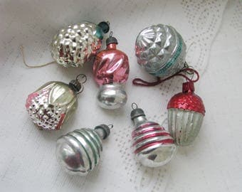 Set of 7 Soviet Christmas tree decoration, Silver Mercury Glass Christmas Glass Ornament - Made in USSR