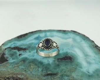 Dainty Sterling Silver Iolite Ring