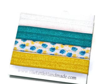 Sewn Hair Ties, Yellow, White, & Teal, Yellow Monstera Hair Bands, Ponytail Holders, Fold Over Elastic, Hair Elastics, Blond Brunette