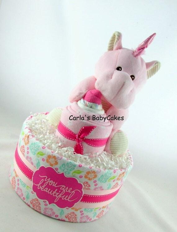 Unicorn Diaper Cake Girl Diaper Cake Baby Shower Gift Baby Shower