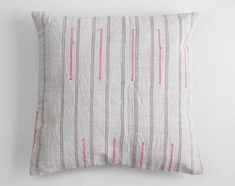 Boho HMONG Striped Textile Ethnic Tribal Piece Tradition Costume Pink white off Pillow Case
