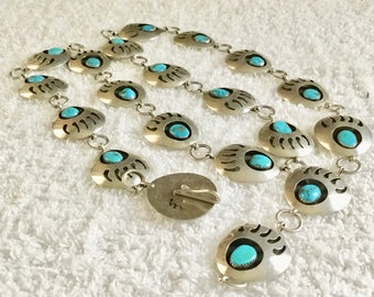 NA 2-V Sterling Silver Turquoise Native American Concho Belt or Necklace